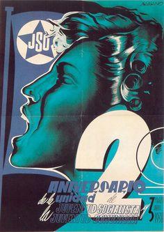 By Desiderio Babiano Lozano, 1938, Segundo aniversario, Republican poster Spanish Civil War.