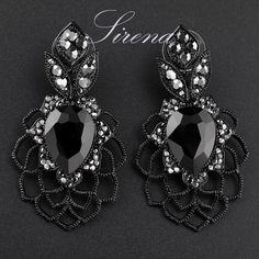Ec099 lujo cuelga gota de la flor de araña negro CZ de austria pendientes grandes cristalinos del Rhinestone de fiesta venta al por mayor de la joyería para mujeres