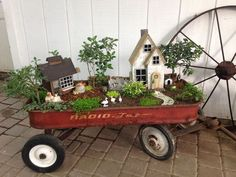 Miniature Gardening Supplies and Decor We have fairies, gnomes, animals, benches, chairs, bridges, houses, mushrooms, unicorns, wagons, wheel barrows etc. Tons of accessories for indoor and outdoor gardens. We also have containers to plant them in and the plants to use, tropical plants and succulents for indoors, ground covers, evergreens, and miniature plants for outdoors. Fairy Garden Gallery Actual photos of Fairy Gardens made by The Flower Market.