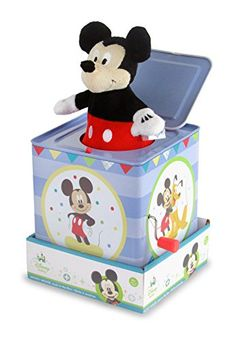 """Peek a boo! here comes mickey mouse! this classic toy features adorable mickey mouse graphics on all sides and plays """"the mickey mouse march""""."""