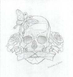 skull and roses tattoos   Skull and Roses Tattoo by ~21-Butterflies on deviantART