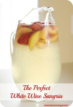 White Wine Sangria Recipe - White grape juice, white wine (use primo amore), sprite, peach schnapps, frozen fruit. No lime juice.