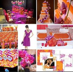 Modern Spring Summer Orange Pink Purple Bouquet Centerpieces Chairs Indoor Reception Invitations Square Wedding Reception Photos & Pictures - WeddingWire.com