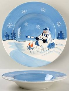 Snow Valley Large Rim Soup Bowl by Canterbury Potteries Christmas Artwork, Christmas China, Christmas Plates, All Things Christmas, Christmas Decorations, China Painting, Tole Painting, Pottery Painting, Snow Valley