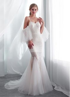 56f8bfe16c1  153.99  In Stock Eye-catching Tulle   Lace Spaghetti Straps Neckline  See-through Mermaid Wedding Dress