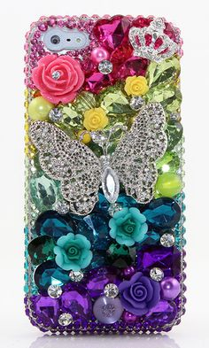 Rainbow Butterfly bling phone case design | Protective iphone 5c cases Disney | Designer iPhone 5c cases glitter for teens. http://luxaddiction.com/collections/3d-designs/products/rainbow-butterfly-design-style-453