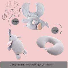 Convertible Pillow Animal Stuffed U-shaped Neck Pillow Kawaii Plush Toy Travel