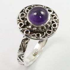 925 Sterling Silver Tibetan Style Ring Size US 6 Genuine AMETHYST Round Gemstone #SunriseJewellers