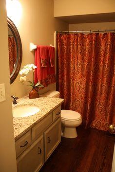 http://www.bebarang.com/unique-long-shower-curtains/ Unique Long Shower Curtains : Red Classic Pattern Extra Long Shower Curtains