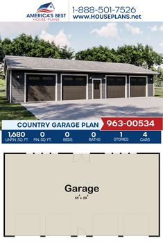 Plan 963-00534 outlines a Country garage design with 1,680 sq. ft. for 4 cars. #garage #garageplans #architecture #houseplans #housedesign #homedesign #homedesigns #architecturalplans #newconstruction #floorplans #dreamhome #dreamhouseplans #abhouseplans #besthouseplans #newhome #newhouse #homesweethome #buildingahome #buildahome #residentialplans #residentialhome Best House Plans, Country House Plans, Dream House Plans, Garage Design, House Design, Dormer Windows, Garage Plans, New Construction, Facade