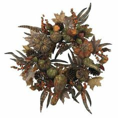 "Nearly Natural 28 inch Autumn Pumpkin Wreath by Nearly Natural. $51.00. 28 inch Autumn Pumpkin Wreath.. Ideal for décor that calls for something a little less ""bright"", this wreath will retain its beauty for years to come.. With its ""brushed gold"" look accenting the dark rich colors of the (faux) leaves and fruit.. This wreath perfectly captures a ""look"" of Autumn that sometimes goes unnoticed.. Pictures are for reference only, silk plants are not all made by silk.. Save 51%!"