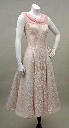 Pink lace & taffeta dress 1950's