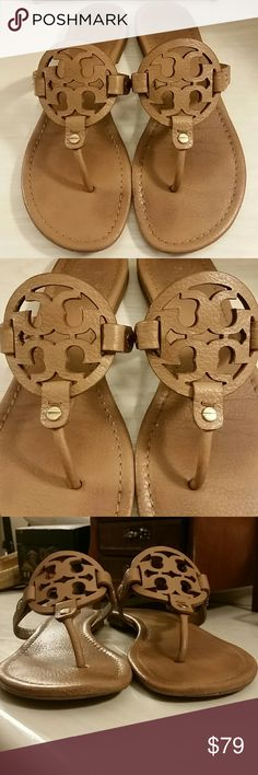 Tory Burch Miller Sandals in Tan Tumbled Leather ---------PRICE FIRM--------' Tory Burch Miller Sandal in Tan Tumbled Leather. Prepend with wear to footbed, fronts, heels and soles.   Size 8.5 Online reviews for the Tory Burch Miller Sandal will give a good well rounded idea of the fit.  No box/dustbag.  *No trades/holds, but thank you* ---------PRICE FIRM------- Tory Burch Shoes Sandals