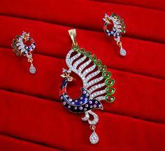 Daphne Designer Studded Peacock Zircon Meenakari Pendant and Earrings