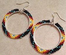 Native American Jewelry Authentic Navajo Amerian Beaded Black Hoop Earrings