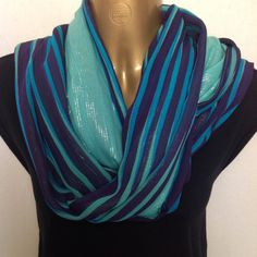 Silk and Cotton Scarf, Purple, Aqua with Silver Thread, Infinity scarf, Long scarf or shawl. by PalluDesign on Etsy