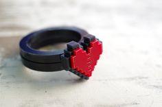 Pixel heart ring for gamer couples