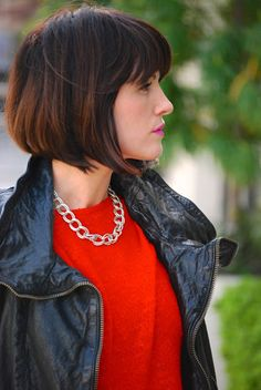November Grey: A chunky heel, a red sweater + {That's the thing about short hair}
