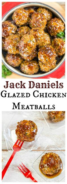 TGIF Inspired Jack Daniels Glazed Chicken Meatballs