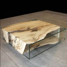 Glass and wood : coffee table #table basse