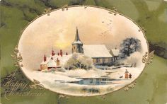 Christmas~Church on Creek~Mother Tyke & Dog~Gold Leaves Oval~Green Back~Emboss