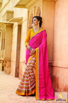 Pavitraa #Pink with #Yellow Color Casual #Sarees