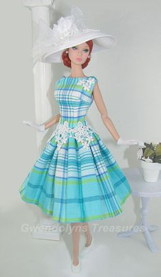Teal Plaid This reminds me of the clothes that were hand made for my barbie Barbie Style, Pretty Dolls, Beautiful Dolls, Marie Osmond, Beanie Babies, Barbie Patterns, Vintage Barbie Dolls, Barbie World, Barbie Friends
