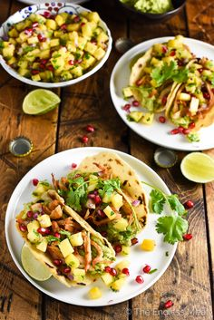 Bookmark this recipe for when you have leftover roasted (or rotisserie) chicken. Homemade pineapple salsa gives a fresh kick of flavor to these chicken tacos.