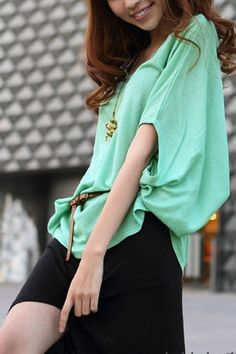 Wholecolored Boat Neck Loose Jumper