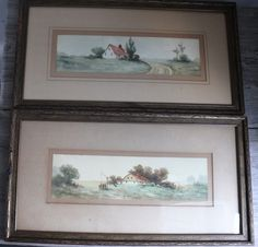 Two Vintage Watercolors Barn Farm Scenes Rural Country House Signed Aston Framed #Realism