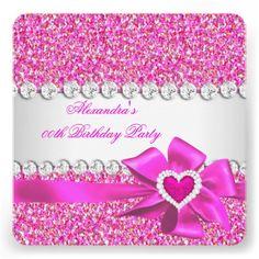 Elegant Glitter Hot Pink Heart Bow Birthday Party Custom Invitations