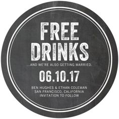 Free Drinks - Save the Date Coasters - Magnolia Press - Charcoal - Gray : Front