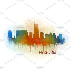 Nashville City Watercolor Skyline v3 by HQPhoto Store on @creativemarket