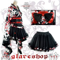 Rakuten - ★ * M ★ Gothic Yukata set WX088M size ·: glareshop... ❤ liked on Polyvore featuring costumes, dresses, chambermaid costume, gothic lolita costume, punk costume, gothic halloween costumes and role play costumes