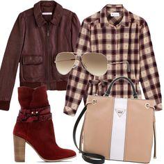 Un chemisier a scacchi dai toni autunnali, il burgundy misto al rosa cipria fa di questo outfit quasi un look country chic. Ho scelto questa borsa della Guess perchè mi piaceva nell'insieme.