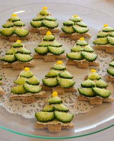 Christmas Tree appetizer, try w/ crescent dough and cookie cutter. use zester on cucumber and veggie pizza spread.