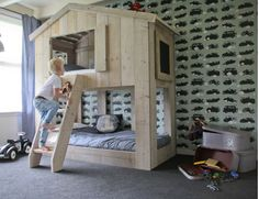 Bunkbed, I want to make Lucas this for his new room! Big Boy Bedrooms, Big Girl Rooms, Baby Boy Rooms, Bedroom Sets, Kids Bedroom, Bedroom Decor, Room Interior, Interior Design Living Room, Car Themed Rooms