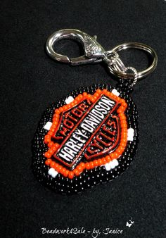 Father's Day Harley Davidson Key Ring Handmade by Beadwork4Sale, $25.00