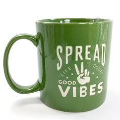 Life Is Good Spread Good Vibes Coffee Mug Jakes Grassy Green Hand Peace Sign  #LifeIsGoodHome #EngravedEtchedletteringimages
