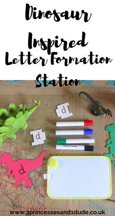 3 Princesses and 1 Dude!: Activity Time. Dinosaur Inspired Letter Formation Station