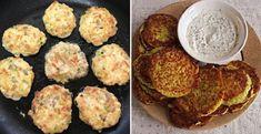 Zdravé zeleninové placky - Receptik.sk Tofu, Cauliflower, Muffin, Lunch, Vegetables, Breakfast, Ethnic Recipes, Meatball, Diet