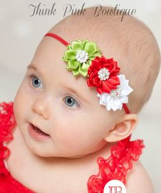Inspiration!  Christmas Headband, Baby Headband, red and white candy cane headband, shabby chic headband,newborn headband,baby girl headband,baby bows.