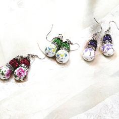 Porcelain Flower Earrings With Crystals in 3 Styles Handmade