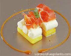Mozzarella, mango y cecina Canapes Gourmet, Appetizers, Chef Recipes, Cooking Recipes, Recipies, Modern Cakes, Food Decoration, Plated Desserts, Food Design