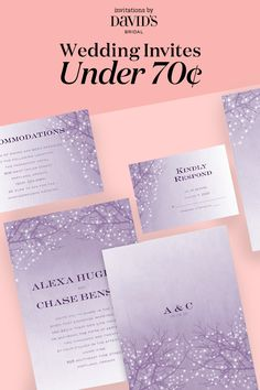 Did you know you can find the perfect wedding invitations for less than 70¢ each? Choose from tons of designs, colors, and styles to set the tone for your celebration.
