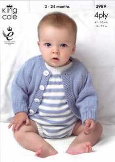 Cardigans and Romper Suits in King Cole Bamboo Cotton 4 Ply - 3989. Discover more Patterns by King Cole at LoveKnitting. The world's largest range of knitting supplies - we stock patterns, yarn, needles and books from all of your favourite brands.