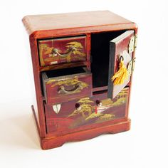 """Vintage """"Souvenir of Galveston, Tex."""" Japanese Hand-Painted Red Lacquered Miniature Tansu Chest - Jewelry Box, Tiny Cabinet, Drawers"""