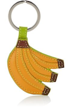 6ac30a488dc1c Barneys Warehouse Leather Banana Key Chain - New York Yellow Brown Green 1  Sz