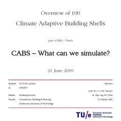 Overview of 100 Climate Adaptive Building Shells