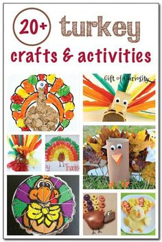 20+ turkey crafts and activities for kids || Gift of Curiosity Thanksgiving Activities For Kids, Thanksgiving Crafts For Kids, Fall Crafts, Holiday Crafts, Thanksgiving Turkey, Kids Crafts, Autumn Activities, November Crafts, Turkey Craft